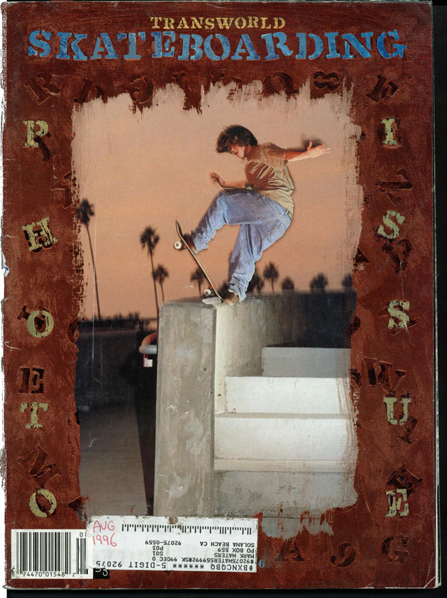 Tom Penny's controversial TransWorld cover. Did he land it? frontside bluntslide, Huntington Beach, 1996.
