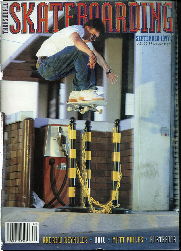 Paul Sharpe, September TransWorld cover, massive Ollie.