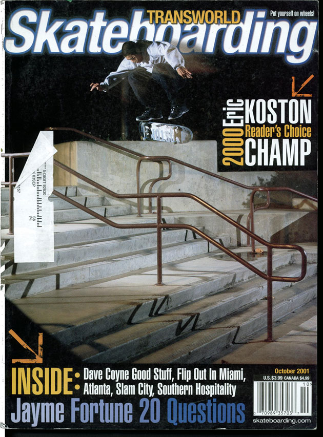 Eric Koston TransWorld cover, switch heelflip, 2001.
