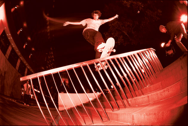Cale Nuske nollie front boards a shiny, well-supported rail.